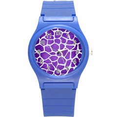 Skin1 White Marble & Purple Brushed Metal (r) Round Plastic Sport Watch (s) by trendistuff