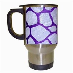 Skin1 White Marble & Purple Brushed Metal Travel Mugs (white) by trendistuff