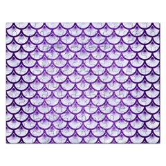 Scales3 White Marble & Purple Brushed Metal (r) Rectangular Jigsaw Puzzl by trendistuff