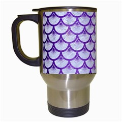 Scales3 White Marble & Purple Brushed Metal (r) Travel Mugs (white) by trendistuff