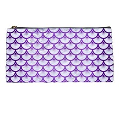 Scales3 White Marble & Purple Brushed Metal (r) Pencil Cases by trendistuff