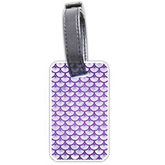 Scales3 White Marble & Purple Brushed Metal (r) Luggage Tags (two Sides) by trendistuff
