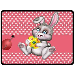 Illustration Rabbit Easter Fleece Blanket (large)  by Sapixe
