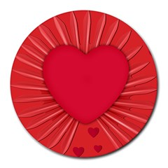 Background Texture Heart Love Round Mousepads