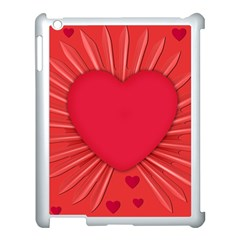 Background Texture Heart Love Apple Ipad 3/4 Case (white) by Sapixe
