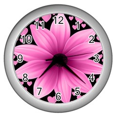 Flower Plant Floral Petal Nature Wall Clocks (silver)  by Sapixe