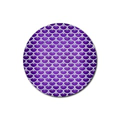 Scales3 White Marble & Purple Brushed Metal Rubber Coaster (round)  by trendistuff