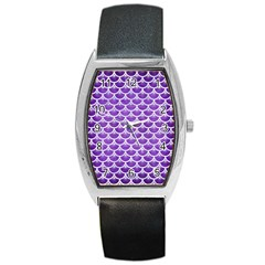 Scales3 White Marble & Purple Brushed Metal Barrel Style Metal Watch