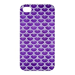 Scales3 White Marble & Purple Brushed Metal Apple Iphone 4/4s Hardshell Case by trendistuff