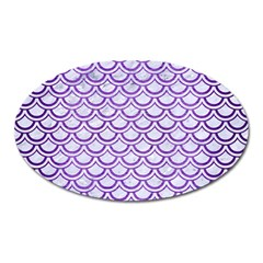 Scales2 White Marble & Purple Brushed Metal (r) Oval Magnet by trendistuff
