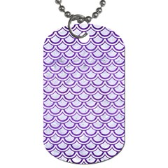 Scales2 White Marble & Purple Brushed Metal (r) Dog Tag (one Side) by trendistuff