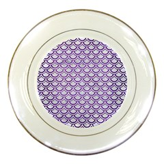 Scales2 White Marble & Purple Brushed Metal (r) Porcelain Plates by trendistuff