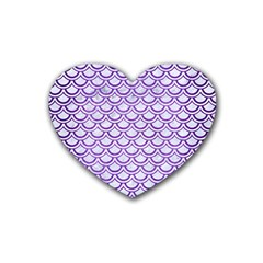Scales2 White Marble & Purple Brushed Metal (r) Rubber Coaster (heart)  by trendistuff