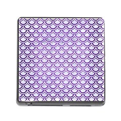 Scales2 White Marble & Purple Brushed Metal (r) Memory Card Reader (square) by trendistuff