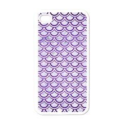 Scales2 White Marble & Purple Brushed Metal (r) Apple Iphone 4 Case (white) by trendistuff