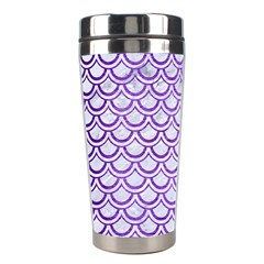 Scales2 White Marble & Purple Brushed Metal (r) Stainless Steel Travel Tumblers by trendistuff
