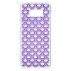 Scales2 White Marble & Purple Brushed Metal (r) Samsung Galaxy S8 Plus White Seamless Case by trendistuff