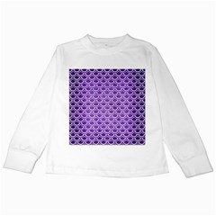 Scales2 White Marble & Purple Brushed Metal Kids Long Sleeve T Shirts