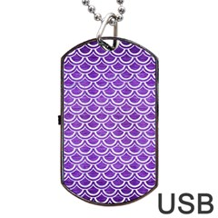Scales2 White Marble & Purple Brushed Metal Dog Tag Usb Flash (one Side) by trendistuff
