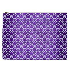 Scales2 White Marble & Purple Brushed Metal Cosmetic Bag (xxl)  by trendistuff