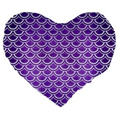 Scales2 White Marble & Purple Brushed Metal Large 19  Premium Heart Shape Cushions