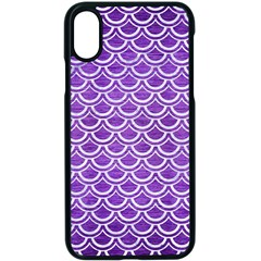 Scales2 White Marble & Purple Brushed Metal Apple Iphone X Seamless Case (black)