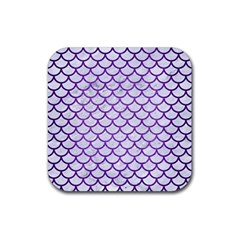 Scales1 White Marble & Purple Brushed Metal (r) Rubber Square Coaster (4 Pack)  by trendistuff
