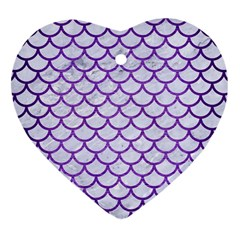 Scales1 White Marble & Purple Brushed Metal (r) Heart Ornament (two Sides) by trendistuff