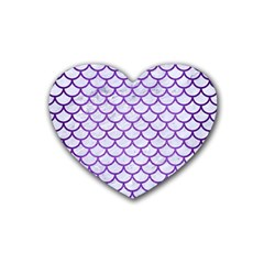 Scales1 White Marble & Purple Brushed Metal (r) Heart Coaster (4 Pack)  by trendistuff