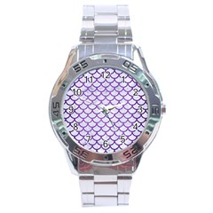 Scales1 White Marble & Purple Brushed Metal (r) Stainless Steel Analogue Watch by trendistuff