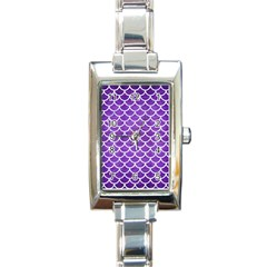 Scales1 White Marble & Purple Brushed Metal Rectangle Italian Charm Watch