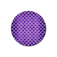 Scales1 White Marble & Purple Brushed Metal Rubber Coaster (round)  by trendistuff