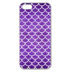 Scales1 White Marble & Purple Brushed Metal Apple Seamless Iphone 5 Case (clear) by trendistuff