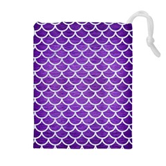 Scales1 White Marble & Purple Brushed Metal Drawstring Pouches (extra Large) by trendistuff