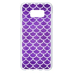 Scales1 White Marble & Purple Brushed Metal Samsung Galaxy S8 Plus White Seamless Case by trendistuff