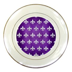 Royal1 White Marble & Purple Brushed Metal (r) Porcelain Plates by trendistuff