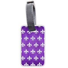 Royal1 White Marble & Purple Brushed Metal (r) Luggage Tags (two Sides) by trendistuff