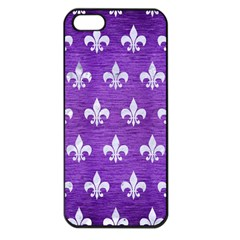 Royal1 White Marble & Purple Brushed Metal (r) Apple Iphone 5 Seamless Case (black) by trendistuff