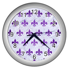 Royal1 White Marble & Purple Brushed Metal Wall Clocks (silver)  by trendistuff