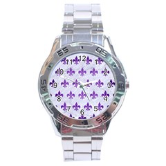 Royal1 White Marble & Purple Brushed Metal Stainless Steel Analogue Watch by trendistuff