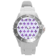 Royal1 White Marble & Purple Brushed Metal Round Plastic Sport Watch (l) by trendistuff