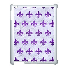 Royal1 White Marble & Purple Brushed Metal Apple Ipad 3/4 Case (white) by trendistuff
