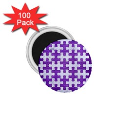 Puzzle1 White Marble & Purple Brushed Metal 1 75  Magnets (100 Pack)  by trendistuff
