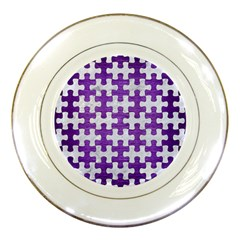 Puzzle1 White Marble & Purple Brushed Metal Porcelain Plates by trendistuff