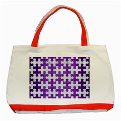 Puzzle1 White Marble & Purple Brushed Metal Classic Tote Bag (red) by trendistuff