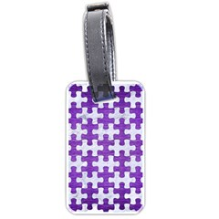 Puzzle1 White Marble & Purple Brushed Metal Luggage Tags (one Side)  by trendistuff