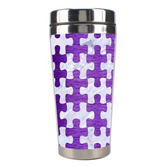 Puzzle1 White Marble & Purple Brushed Metal Stainless Steel Travel Tumblers by trendistuff