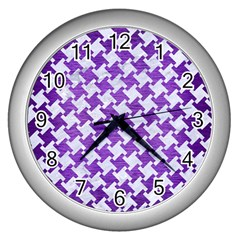 Houndstooth2 White Marble & Purple Brushed Metal Wall Clocks (silver)  by trendistuff