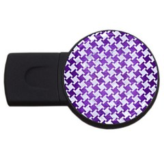 Houndstooth2 White Marble & Purple Brushed Metal Usb Flash Drive Round (4 Gb) by trendistuff