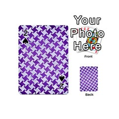 Houndstooth2 White Marble & Purple Brushed Metal Playing Cards 54 (mini)  by trendistuff